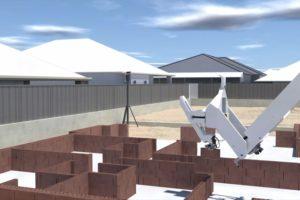 Mauerwerksbau: Der Bauroboter Hadrian X ist für die Arbeit im Freien optimiert und kann Wohnbauten vollautomatisiert errichten. Bild: Wienerberger
