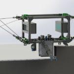 Seilroboter stellen einen innovativen, vielversprechenden Ansatz für die Automatisierung der Bauprozesse bei Kalksandsteinmauerwerk dar. Grafik: Michael Meik, Lehrstuhl für Mechatronik der Universität Duisburg-Essen