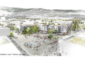 Der neue klimaneutrale Freiburger Stadtteil Dietenbach ist ein Beispiel für klimagerechte Stadtentwicklung. Bild: K9 Architekten/Latz + Partner/die-grille