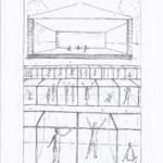 Skizze von Architekturstudentin