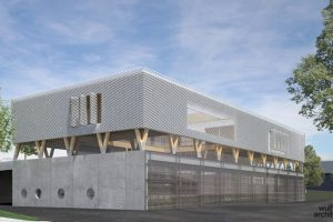 Als kreislauffähiges Gebäude dient das neue Feuerwehrhaus in Straubenhardt als Rohstoffdepot. Die darin verwendeten Materialien können ohne Qualitätsverlust wiederverwertet werden. Bild: Wulf Architekten