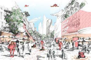 In seinem lab report »retail in transition« sieht das Kölner Architekturbüro caspar. den Wandel im stationären Einzelhandel als große Chance für Städte. Hier: Zeil in Frankfurt. Illustration: caspar.