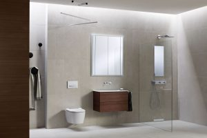 Integriertes Badkonzept für Dusche, Waschtisch und WC Geberit ONE