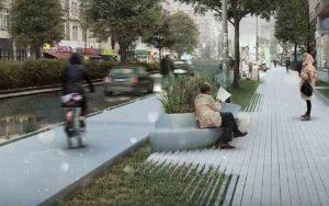 Radweg und Fußgängerbereich mit Regenwassermanagement