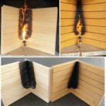 Bauholz unter Beflammung