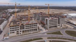 Baustelle des IN-Campus in Ingolstadt von oben