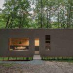 Minimalhaus umgeben von Bäumen