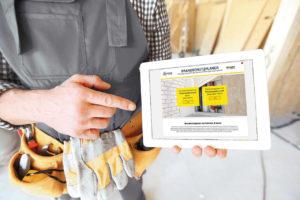 Tablet mit Brandschutz-Konfigurator von Kaimann