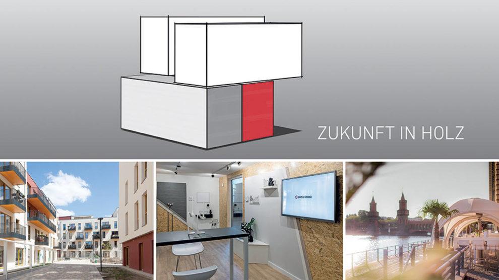Keyvisual zur Swiss Krono Architektenveranstaltung Zukunft in Holz