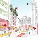 Einkaufen, Arbeiten, Leben, Genießen und alles auf sinnvolle Art miteinander zu verbinden. Das ist die Chance des Handels gegen die Online-Übermacht. Kölner Innenstadt. Illustration: caspar.