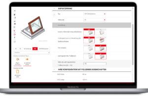 Screenshot Produkt-Konfigurator für Flachdach-Fenster von Lamilux