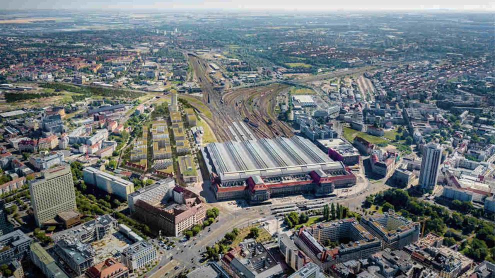 Vogelperspektive auf das Löwitz Quartier in Leipzig, ausgezeichnet mit dem DGNB Platin-Vorzertifikat für nachhaltige Stadtquartiere