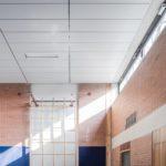 Deckensysteme im hellen Raster für Sporthalle.