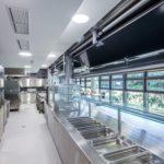Speiseausgabe hinter Hebefaltladen in Schul-Kantine