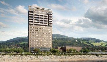 Im März 2019 wird der Mjøsa Tower im norwegischen Brumunddal das höchste in Holzbauweise errichtete Gebäude der Welt sein. Bild: MetsäWood