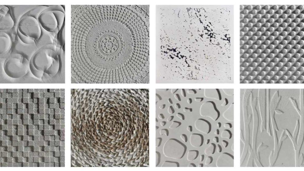 Ornamentplatten aus weißem Sichtbeton