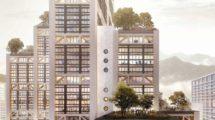 """Fensterfassade des Holz-Hybrid-Hochhauses """"Modul17"""", Luzern"""