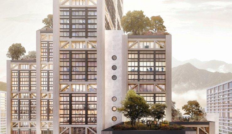 "Mockup: Fensterfassade des Holz-Hybrid-Hochhauses ""Modul17"", Luzern"