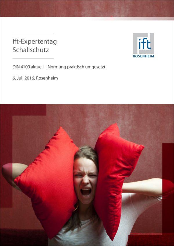 Flyer für den ift-Expertentag Schallschutz 2016.