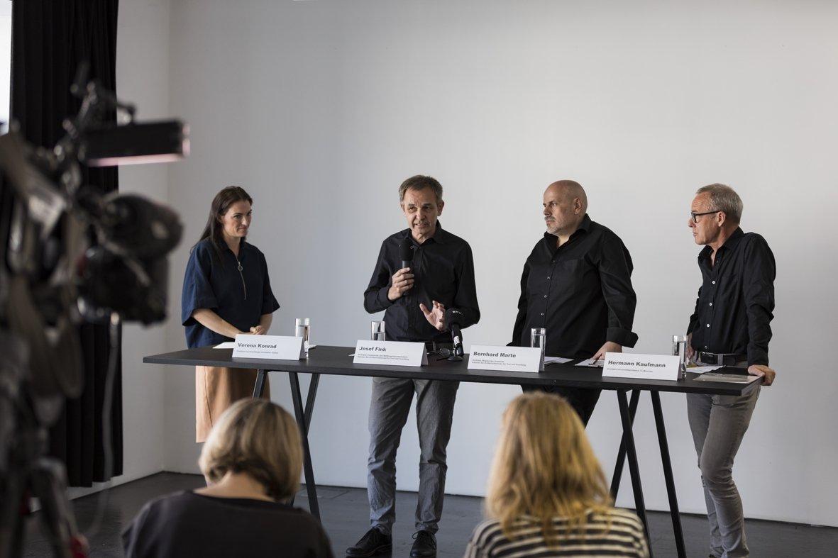 Plädierten gemeinsam für mehr Architekten-Wettbewerbe in Vorarlberg (von links): Verena Konrad, Josef Fink, Bernhard Marte und Hermann Kaufmann bei der Pressekonferenz am 7.5.2018 im vai Vorarlberger Architektur Institut in Dornbirn.
