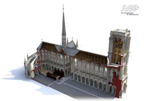 Bei einer Sofortmaßnahme zur Sicherung von Notre-Dame setzten französche Experten Laserscanner von FARO zur exakten 3D-Kartierung ein. Bild: Art Graphique & Patrimoine.