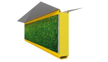 Feinstaub wird verstoffwechselt: Textile Mooswand für Fassaden und Leitplanken. Bild: DITF
