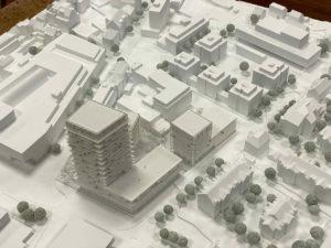 Architekturmodell zum Siegerentwurf zum IBA'27-Projekt Gelände Postareal in Böblingen
