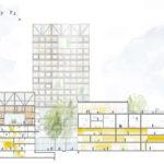 Schnittzeichnung Siegerentwurf zum IBA'27-Projekt Gelände Postareal in Böblingen