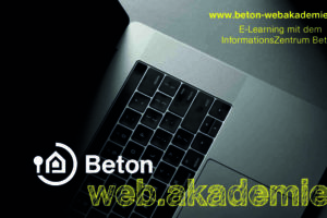 Laptop / Ankündigung Webinare zum Thema Beton. Bild: BetonBild