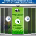 Der Sonderpreis für den Bereich Energieeffizienz wurde an das Produktangebot an Automationssystemen für Schiebe- und Drehtüren von Face S.p.A. vergeben. Bild: Face S.p.A.