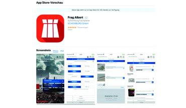 """App """"Frag Albert"""" für die Bauwerksabdichtung. Download für iOS im App-Store. Bild: Schomburg"""