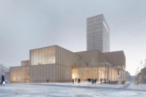 Kulturzentrum Sara Kulturhus von White Arkitekter als 20-geschossiger Holzbau