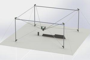 Mit Seilrobotern für Kalksandstein-Mauerwerk können in kürzerer Zeit komplette Gebäude bei verringertem Personaleinsatz errichtet werden. Grafik: Michael Meik.