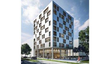 Das 34 m hohe SKAIO ist Deutschlands erstes Hochhaus in Holzbauweise. Bild: THIRD für Kaden+Lager