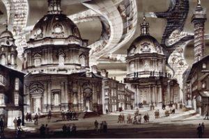 Domartige Gebäude, mehrstöckige Wohngebäude und die Trajanssäule vor dem Hintergrund eines fiktiven Hochhauskomplexes mit wabernden Formen und einer Glasfassade. Zeichnung: Sergei Tchoban