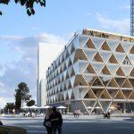 Holzhybridhaus mit zukunftsweisendem Cradle-to-Cradle-Konzept im Düsseldorfer Medienhafen von HPP Architekten. Bild: Interboden / HPP Architekten