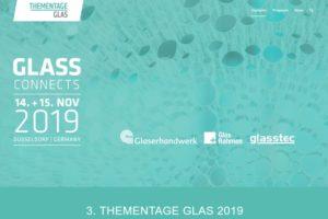 """Vom 14. bis 15. November 2019 finden im CCD Ost Congress Center in Düsseldorf die 3. Thementage Glas unter dem Motto """"Glass Connects"""" statt."""
