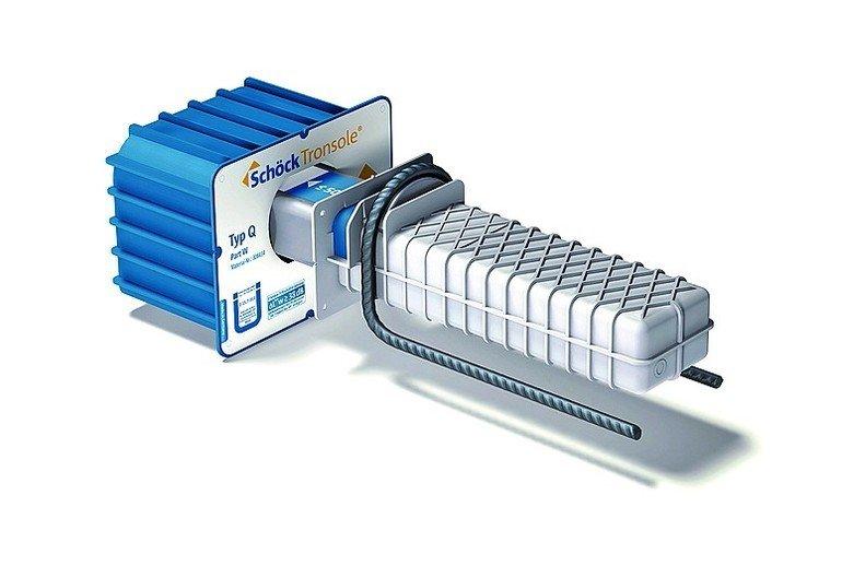 Trittschall-Dämmung für Treppen mit Querkraftdornen. Bild: Schöck Bauteile GmbH