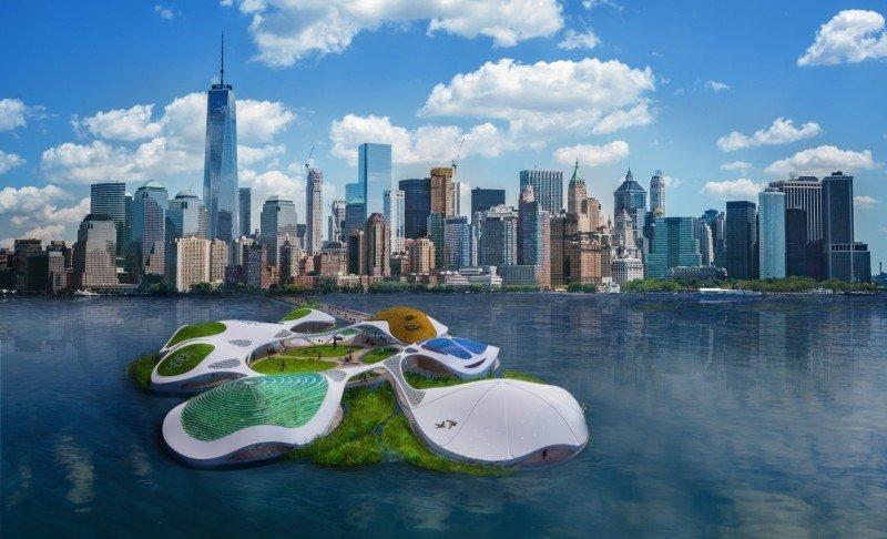 Schwimmendes Biotop vor Manhattan