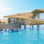 Wasservilla im Hotelresort Ummahat Al Shaykh Island von Kengo Kuma in Holzbauweise