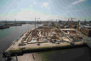 Baustellen beim Großprojekt Westfield Hamburg Überseequartier