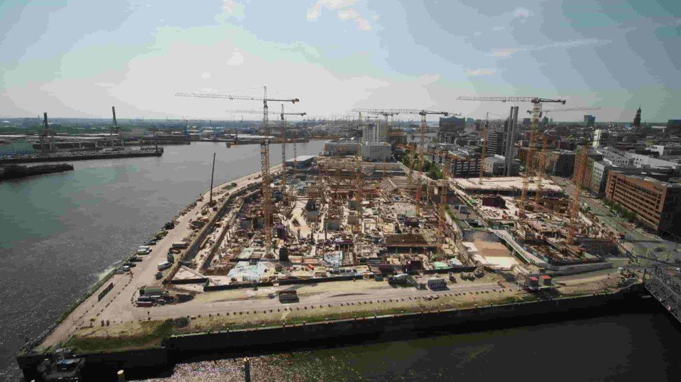 Baustellen beim Großprojekt Westfield Hamburg Überseequartier.