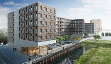 Holzbau-Projekt Woodie, Studentenwohnheim, Hamburg. Architekten: Sauerbruch Hutton. Bild: Sauerbruch Hutton.