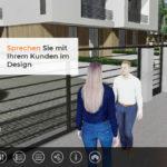 Visualisierung eines Hauses mit Avataren. Mithilfe eines Sprachmoduls kann der Entwurf sofort auch online diskutiert werden. Bild: Xuver