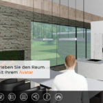 Visualisierung eines Hauses mit Avatar. Als maßstabsgetreuer Avatar kann der Architekt mit seinem Kunden durch den Entwurf