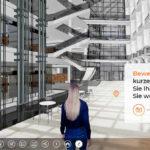 Visualisierung eines Hauses mit Avatar: Diese interaktive Art und Weise, durch einen Entwurf hindurchzugehen, spart eine Menge Zeit, die ansonsten für Erklärungen aufgewendet werden müsste. Bild: Xuver