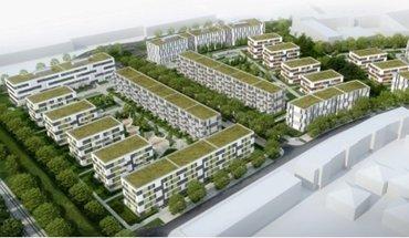"""In Neu-Schönefeld bei Berlin errichtet Züblin ein Quartier mit Wohnungen und Büros. Der Entwurf für die """"Sonnenhöfe"""" stammt von Blumers Architekten aus Berlin. Bild: Sonnenhöfe GmbH Co. KG"""