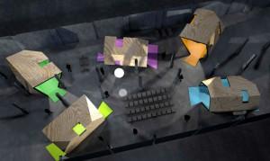 """Rendering der Häuser für die Ausstellung """"Alle wollen wohnen"""" des Museums für Architektur und Ingenieurkunst NRW.  Bild: NTK"""