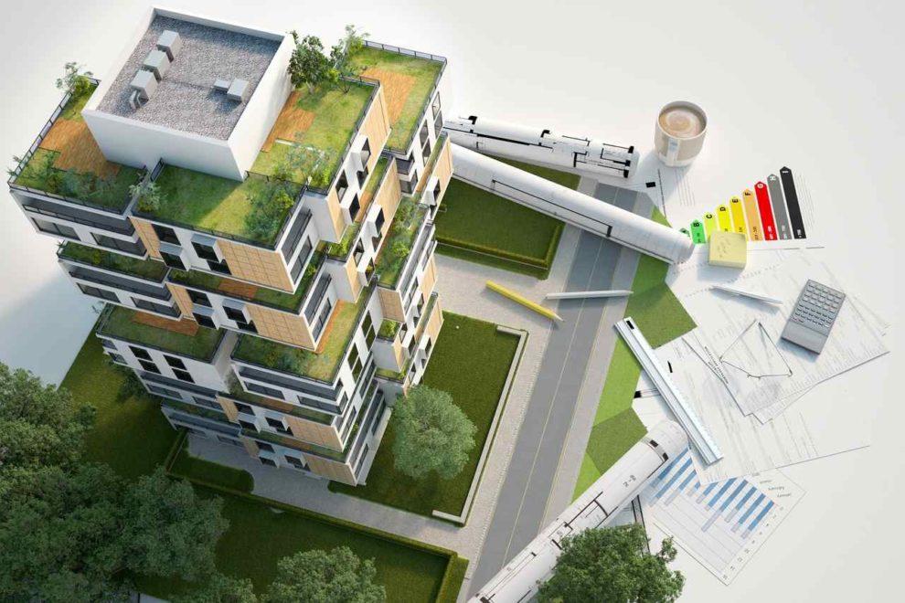 Architekturmodell eines Hochhauses