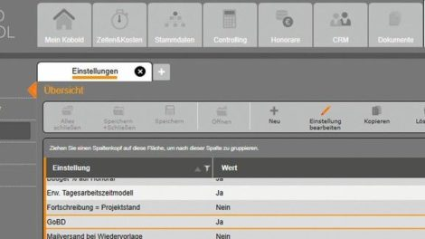 Registerkarte Einstellungen für die GoBD konforme Rechnungsstellung